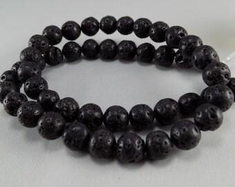 Black Lava Beads - 8mm - Sold per strand - #BST1128