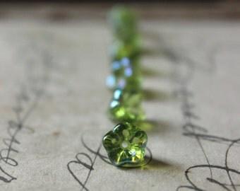 Czech Glass Blossom Beads   Spring Green, Aurora Borealis, Flower, Petal, Romantic, Whimsical Bead.