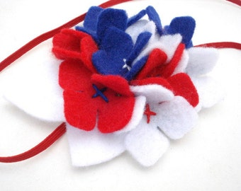 Ready to Ship 4th of July Felt Hydrangea, Red, White, Blue