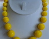 """Mothers Day Sale Pretty Vintage Bright Yellow Plastic Beaded Necklace, Adjustable, 16-1/2""""-20"""""""