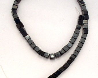 Full Strand of 6mm Cubes of  Black Agates (52)