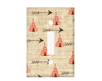 Tribal Switchplate Cover / Light Switch Cover /  TeePee Single Switch / Triple Switchplate / Arrow Double toggle / Rocker Cover