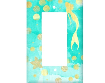 Little Mermaid Switchplate Cover, Light Switch, Aqua Gold Watercolor Decor, Lighting Home Decor, Rocker Cover, outlet, Lilys Nursery Shop