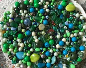 HUGE 1 pound 10 oz  Bead Mix Destash Findings Lot stone Glass Plastic Jewelry Making Inspiration Green