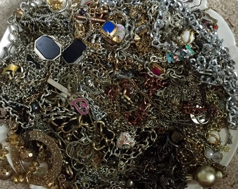 HUGE  3 pounds 6 oz Destash Lot of Scrap Chain Jewelry making Silver Gold Tone