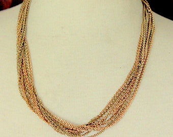 Vintage Necklace Multi Strand Chain Gold Tone Statement