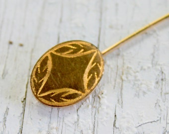 Antique Gold Filled Stick Pin Brooch Etched Design