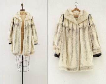 Black Cross Mink Vintage Fur Coat 60s White Black Fur 60s White Mink Coat White Black Mink 60s Boho Mink Coat Leather Fur Jacket