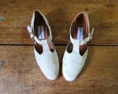 Fratelli Rossetti Suede Sandals ITALIAN 90s Tstrap Shoes DELLS Preppy Buckled Buff Cream Leather Sandals Minimal School Girl Womens EUR 37