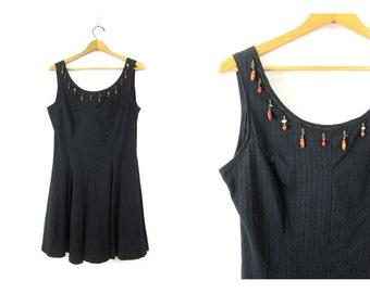 Basic Black Mini Dress Grunge Sun Dress Sleeveless Mini Tshirt Tunic Babydoll Revival Vintage Beaded Dress Womens size Large dell's
