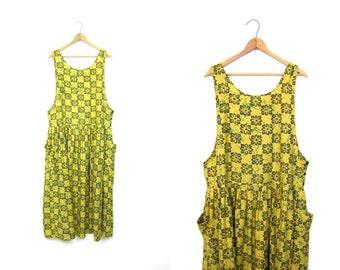 Olive Green Frock Loose Fit Bohemian SunDress Hipster Pocket Dress Printed Floral Vintage 90s Long Sun Dress Midi Dress Womens Small Medium