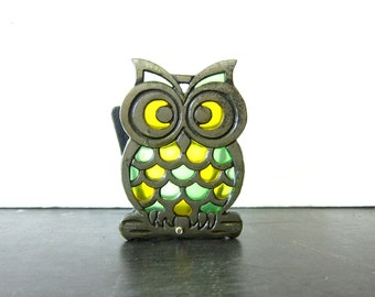 vintage retro cast iron and stained glass owl napkin holder Small Letter Holder Office Desk Decor
