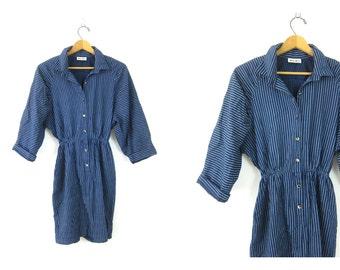 1970s Hipster Dress Blue Striped Button Front Wiggle Dress Long Sleeve Batwing Shirt Dress Womens Small Medium