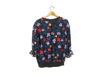 80s Silk Blouse Printed Floral Top Loose Fit Black Long Sleeve TShirt Blouse Vintage Silk Shirt Womens Size 10 Medium Large
