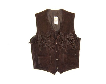 Fringed 70s Leather Vest Vintage Dark Brown Suede Vest Hippie Country Western Sleeveless Jacket Snap Up Fringe Biker Womens Small Medium