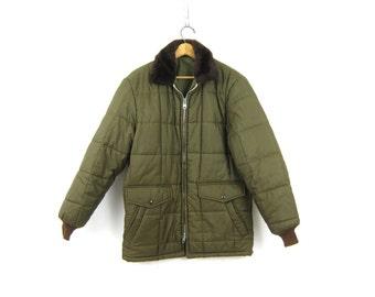 80s Puffy Coat Army Green Puffer Coat Insulated Double Metal Ideal Zipper Winter Coat Hipster Bomber Jacket 1980s retro Utility Coat Medium