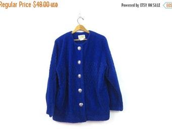 vintage 1990s fleece Coat Royal Blue Duffel Ski blanket Coat Button Up sweatshirt coat Slouchy Fuzzy sweater Tree Knit Womens Large