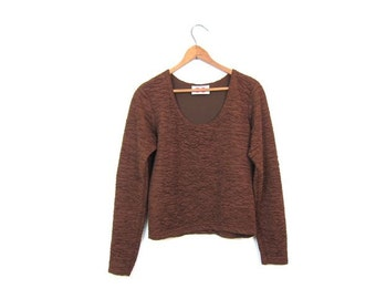 Vintage 90s Cropped Top Copper Brown Crinkle Shirt Crop Top Boho 1990s Textured Long Sleeve Shirt Scoop Neck Top Belly Shirt Womens Small