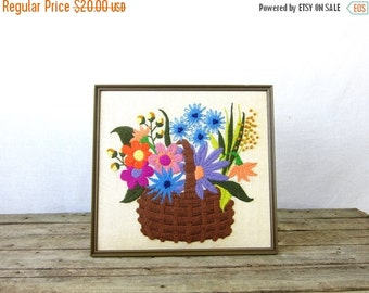 Floral Needle Point Picture Long Stitch vintage colorful framed Wall Hanging bouquet Basket of Flowers Boho Home Decor Garden flowers