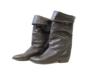 80s Brown Leather Boots Fold Over Boots Knee High Boots Vintage Slouchy Equestrian Fall Boots Preppy Dark Brown Riding Boots Womens Size 6.5