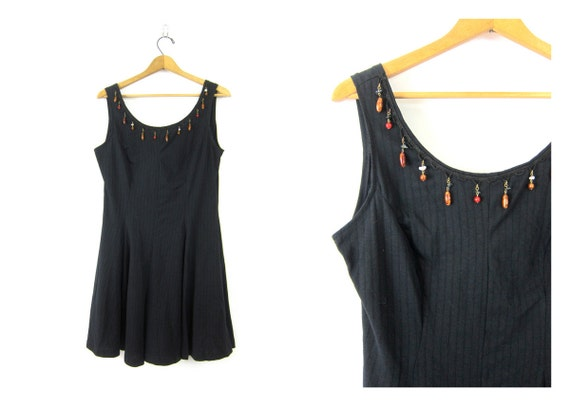 Basic Black Mini Dress Grunge Sun Dress Sleeveless Mini Tshirt Tunic Babydoll Revival Vintage Beaded Dress Womens size Large dell's