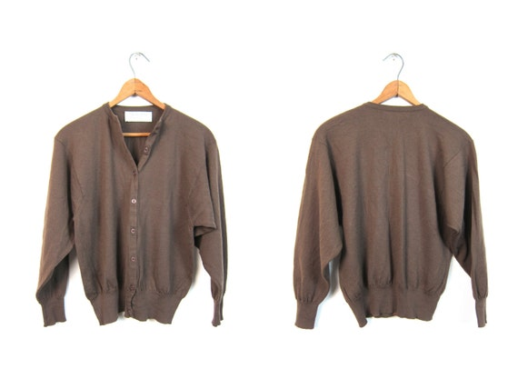 Vintage 50s brown cardigan sweater thin WOOL knit button up sweater simple wool sweater top minimal Spring sweater Women's medium