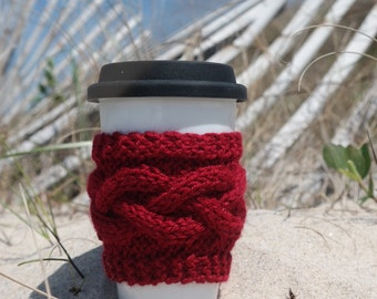 Knit cup cozy, knit tea cup cozy, knit travel mug cozy, tea mug cozy, knit gift, coffee, tea, travel mug, cup cozy, tea cozy