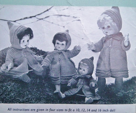 Patons Knitting Patterns For Dolls Clothes : Knitting Pattern Vintage 1950s Dolls Clothes to by ...