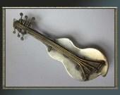 Blunt INSTRUMENT,Hand Wrought Mixed Metals Mid Century Modernist Artisan Guitar Brooch,Vintage Jewelry,Unisex