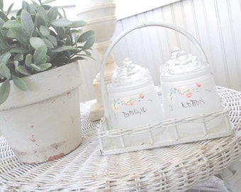 Vintage Nursery Set * Wicker Basket * Hand Painted Jars * Shabby White Cottage