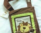 Inventory SALE! was 36 dollars. Canvas messenger bag, brown. Leo Lion. Gift for Birthday, Baby shower, grandchild, teacher Christmas gift.