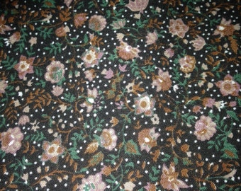 6 yards 44 wide 80s floral calico cotton blend dressmaking fabric
