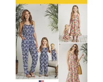 MATCHING OUTFITS PATTERN / Mom - Daughter - American Girl Doll Jumpsuit - Dress / Several Sizes