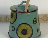 Handmade honey pot, honey jar, honey dipper, storage jar, unique gift, foodie gift, kitchenware, lidded pot, slotted lid