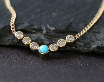 Turquoise + Diamond Bezel Necklace
