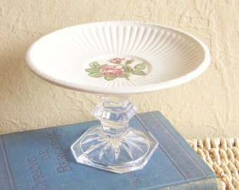 Shabby Chic Rose Pedestal Trinket Dish Candle Holder Upcycled