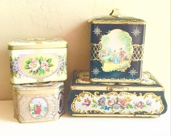 Collection of Pretty Vintage Tins with Lids Tops Floral Tea Biscuit Storage