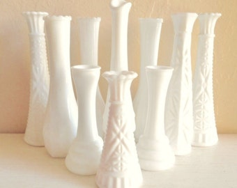 Instant Collection 10 White Milk Glass Vases Wedding Decor