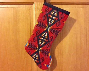 Christmas Stocking XL Wool Red Great Star Horizontal Southwestern Tribal Handcrafted Using Fabric from Pendleton Woolen Mill