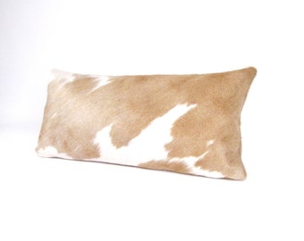 Brown and Ivory Cowhide Pillow ~ Beige Pillow ~ Palomino Pillow ~ Rectangular Leather Pillow ~ Brazilian Leather Lumbar ~ Brown leather