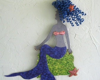 Metal Wall Art Mermaid Sculpture Wall Decor - Naomi - Handmade Recycled Metal Wall Sculpture Beach House Coastal Decor 13 x 16
