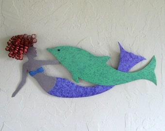 Mermaid Metal Art Ocean Wall Art Decor  Redhead Mermaid and Dolphin Reclaimed Metal Wall Beach House Coastal  Blue Lavender Teal 14 x 23