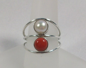 Coral, Freshwater Pearl, and Silver Ring, Size 8