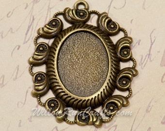 5 pcs 18 x 25mm Antique Bronze Oval Filigree Pendant Trays with 5 Glass Cabochons (19-18-503), Blank Bezel Cabochon Setting