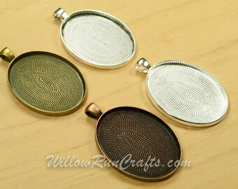 100 pcs 30 x 40mm Oval Pendant Trays in Antique Bronze, Antique Copper, Antique Silver and Silver Plated, Blank Bezel Cabochon Setting