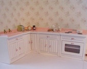 Dollhouse kitchen, pink white kitchen, filled kitchen, kitchen, stove, sink, kitchen accessories,   twelfth scale, dollhouse miniature