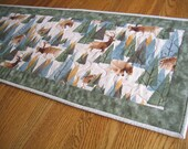 Quilted Table Runner with Pine Trees, Elk, Moose and Bears