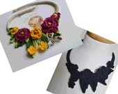 Reserved crochet cotton necklace choker black & burgundy yellow set of 2