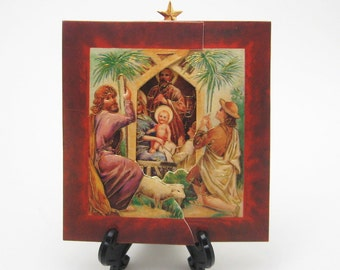 Nativity Christmas Card Victorian Repro Fold Out Card Vintage Ephemera