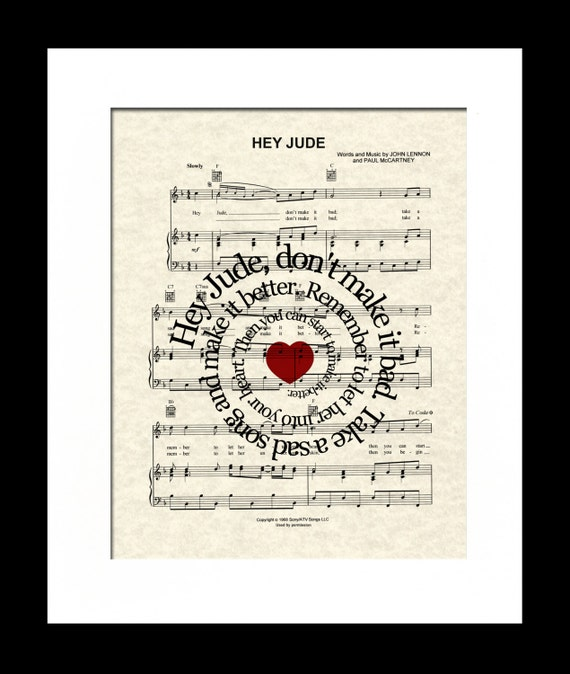 Song Lyric Print, The Beatles, Hey Jude, Custom Gift, Sheet Music, Spiral Word Art, Nursery Art, Beatles Music
